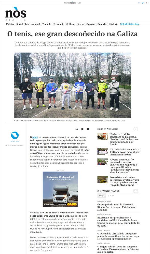 nova artigo nos diario sobre clube de tenis cdl